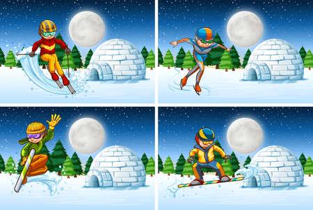 Set of snow activity at night illustration Иллюстрация