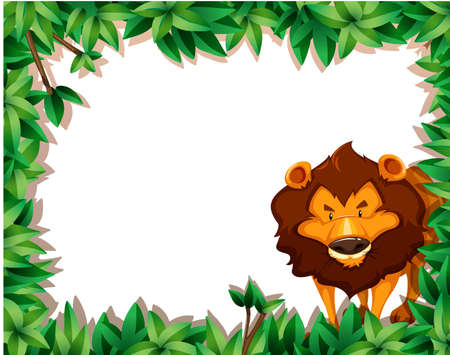 A lion on nature frame illustration Иллюстрация