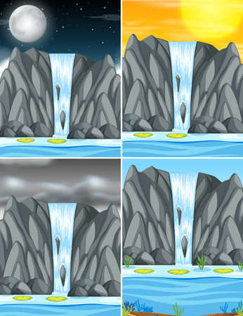Set of waterfall in different weather illustration Иллюстрация