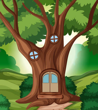 A fairy tale house in the jungle illustration