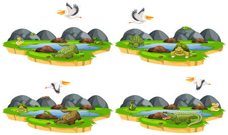 Set of reptiles in nature illustration