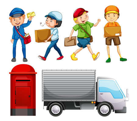 Set of mail delivery illustration Çizim