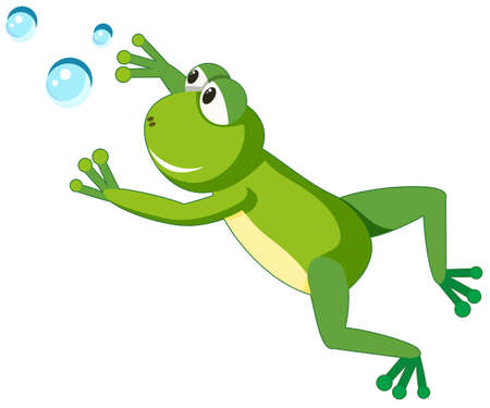 A frog character on white background illustration
