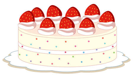 An isolated strawberry cake illustration