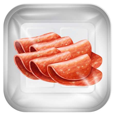 salami on plastic packaging illustration Ilustração