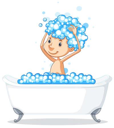 A boy take a bath illustration