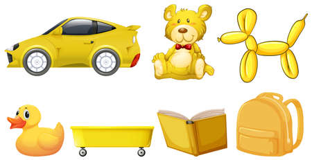 Set of yellow objects illustration Фото со стока - 124880156