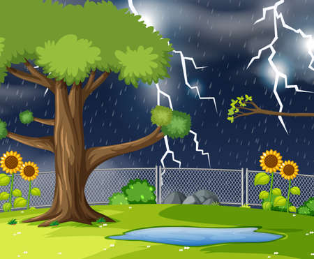Storn nature park scene illustration Illustration