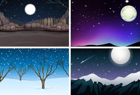 Set of nature landscape at night illustration Standard-Bild - 124746016