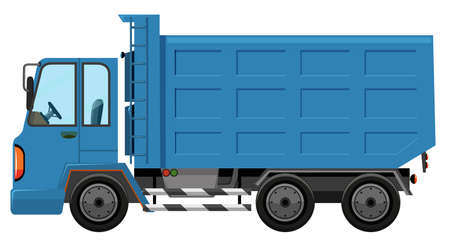 A garbage truck on white background illustration