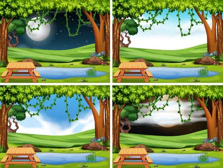 Set of park landscape illustration