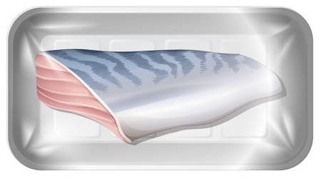 Isolated fish fillet on tray illustration