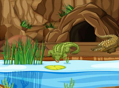 Cocodrilo en la ilustración del pantano