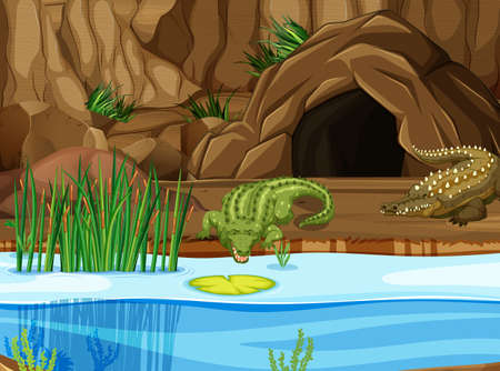 Crocodile at the swamp illustration 스톡 콘텐츠 - 124746062