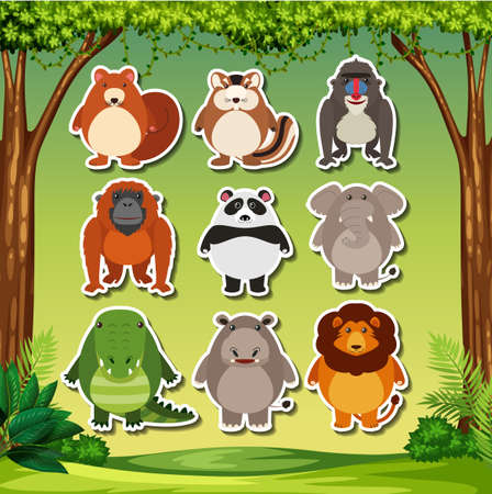 Animal sticker on nature background illustration 일러스트