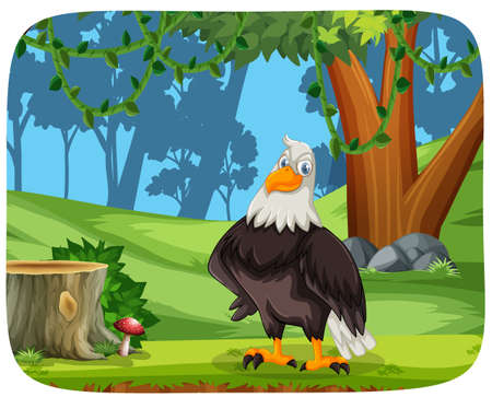 An eagle in nature background illustration