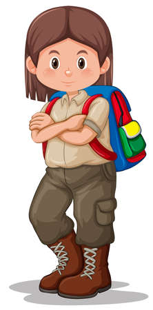 Scout girl with backpack illustration
