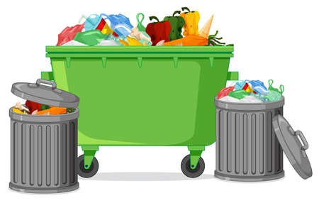 Isolated trash container on white background illustration Illustration