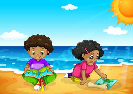 Giovani bambini africani in spiaggia illustrazione Vettoriali
