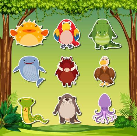 Set of animal stickers illustration Иллюстрация