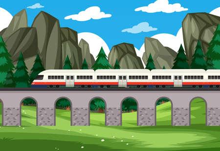 A modern rail travel to nature background illustration Ilustracja