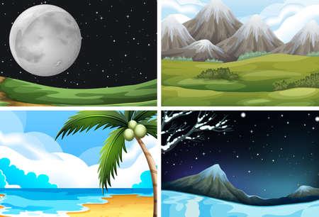 Set of nature landscape illustration Ilustração