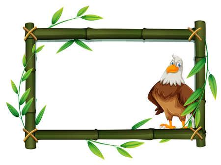 An eagle on bamboo border illustration Иллюстрация