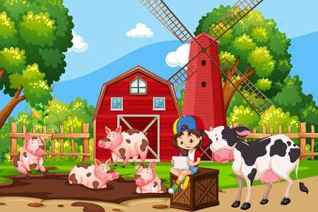 Scena di fattoria con illustrazione di maiali e mucche