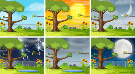 Set of nature pack background illustration