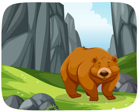 A grizzly bear in nature scene illustration