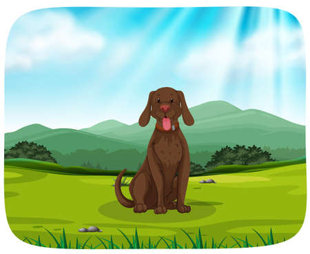A dog in nature background illustration