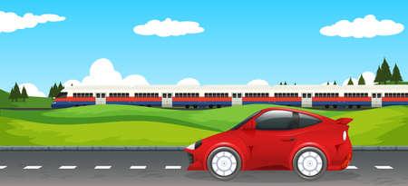 Transportation in rural landscape illustration