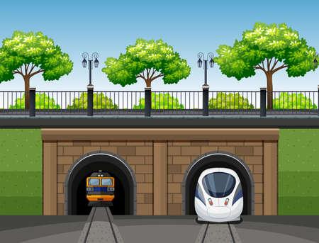 Modern and classic train scene illustration