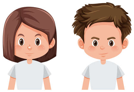 Boy and girl face illustration