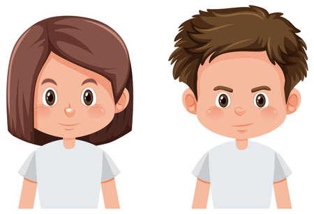 Illustration de visage garçon et fille