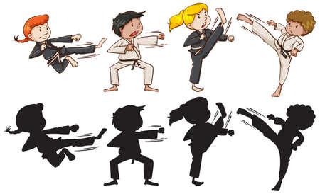Set of karate kids illustration