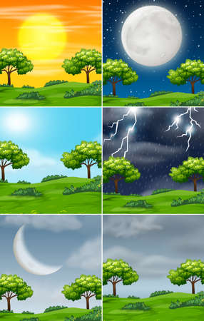 Set of nature in different weather illustration