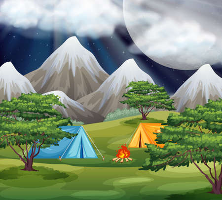 Camping in the park scene illustration Illustration