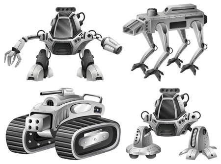 A set of isolated robot illustration