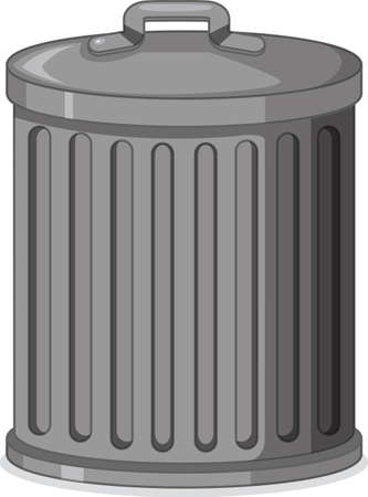 A metal trash can on white background illustration