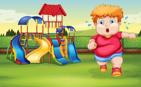 A fat boy running at the park illustration