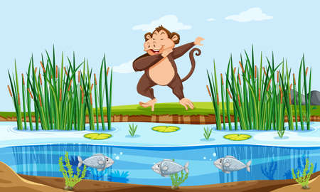 A monkey in nature illustration