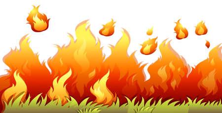 A bushfire flame on white background illustration