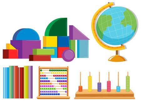 Set of math toys illustration
