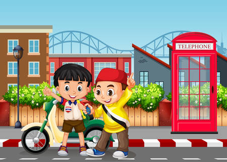 Friendship boys at the road illustration