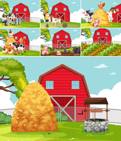 Set of farmland landscape illustration