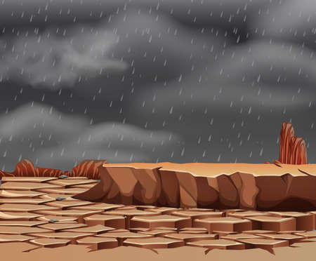 Raining at the droughty land illustration