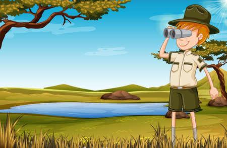 A zookeeper in savana illustration Ilustrace
