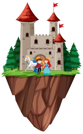 Isolated prince and princess castle illustration Çizim
