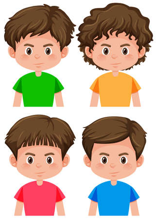 Set of boy character different hairstyle illustration